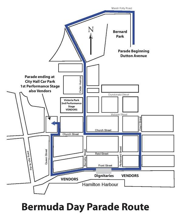 Bermuda Day Parade Route