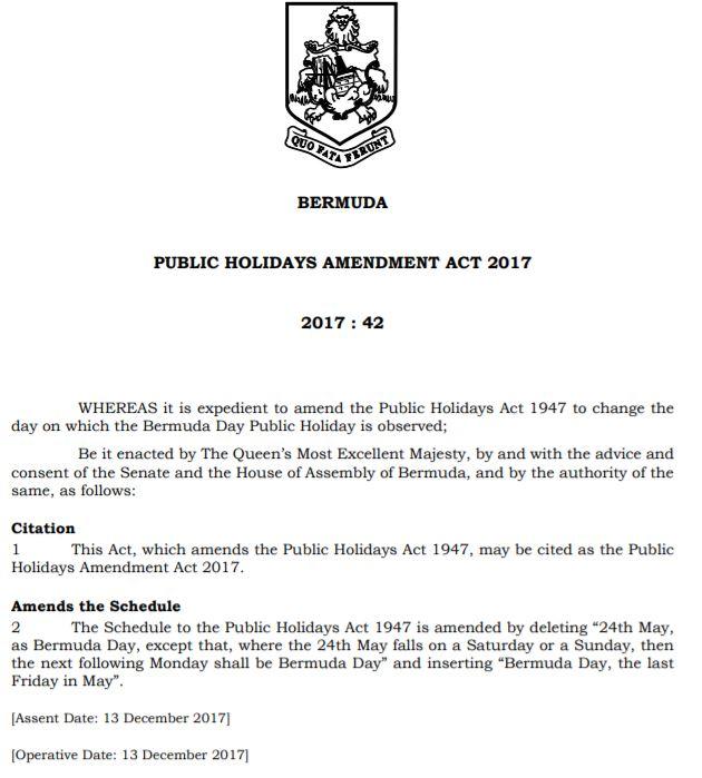 PUBLIC HOLIDAYS AMENDMENT ACT 2017